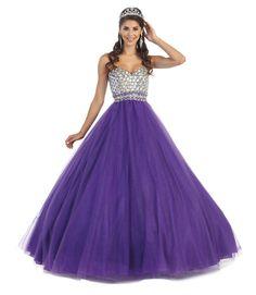 Long Sweet Sixteen Mesh Ball Gown Formal Quinceanera Dress