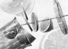 달동네 작업실 :: [정물소묘/구성]레몬,텀블러+스트로우 과정작