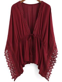 Shop Burgundy V Neck Batwing Lace Kimono online. SheIn offers Burgundy V Neck Batwing Lace Kimono & more to fit your fashionable needs.