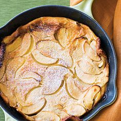 Apple Oven Cake our Family favorite!  I use spelt and coconut milk. Sometimes pumpkin in the pancake. Honey or agave in place of sugar and switch out other fruit for the apples occasionally. Yumsimilar to French Clafouti!