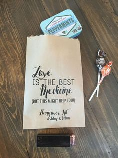 Wedding Hangover Kit Bags Love is the Best Medicine Favor