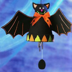 Halloween Bat Windchime.  Easy clay pot craft for anyone!