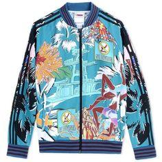 Adidas X Mary Katrantzou Printed Track Jacket ($276) ❤ liked on Polyvore featuring jackets, blue and adidas
