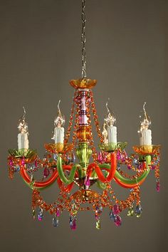 Multicolour Acrylic Chandelier - 8 Arm