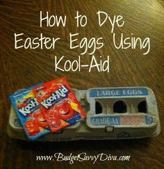 Use Kool-Aid to Dye your Easter Eggs  Here is a fun project around Easter - dye eggs using Kool-Aid.   mix each pack  up with about 2/3 cup water.  lay the eggs in the cup of the color you want for just a short bit.  Take out the egg and let dry.