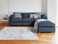 Blue Couch Living Room, Corner Sofa Living Room, Living Room Sofa Design, Living Room Designs, Dining Room, Comfy Sofa, Comfortable Sofa, Blue Corner Sofas, Blue Sofas