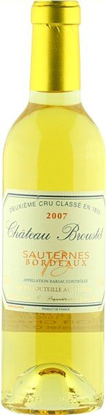 Château Broustet 2007 Sauternes AOC - The vineyard enjoys a privileged microclimate as a result of the nearby Garonne river and its tributary the Mite. In Autumn, this water is warmer than the surrounding air, and so morning fog is produced, promoting the development of pourriture noble on the grapes - ultimately the source of Sauterne's delicious candied fruit and mushroom character. Enjoy Chateau Broustet with blue cheese, fois gras, pastries, or on its own at the end of a meal.