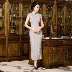Light Gray Classic Ladies Lace Long Cheongsam Hot Sale Traditional Chinese Qipao Dress Vestido Clothing Size S M L XL XXL C27658