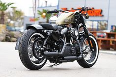 this Harley-Davidson Sportster Forty-Eight is equipped with our latest XL parts like new rear-fender, fueltank-relocation, grand classic filter-kit and many other Thunderbike custom-parts. Harley Davidson Sportster, Harley Davidson 48, Hd Sportster, Bobber Custom, Custom Sportster, Custom Harleys, Custom Motorcycles, Custom Bikes, Harley 48