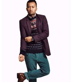 Shop this look on Lookastic: http://lookastic.com/men/looks/jeans-and-crew-neck-sweater-and-longsleeve-shirt-and-boots-and-blazer/177 — Aquamarine Jeans — Navy Fair Isle Crew-neck Sweater — Grey Long Sleeve Shirt — Brown Leather Boots — Purple Wool Blazer