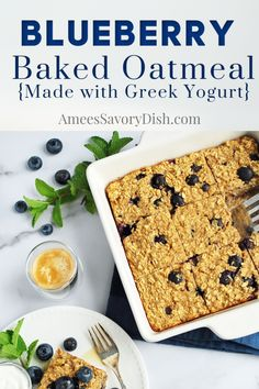 The best easy baked oatmeal recipe using fresh blueberries, oats, protein-packed Greek yogurt, and oat milk. So simple and delicious! Blueberry Oat, Blueberry Recipes, Oats Recipes, Beef Recipes, Real Food Recipes, Cooking Recipes, Yogurt Recipes, Flour Recipes, Kitchen Recipes