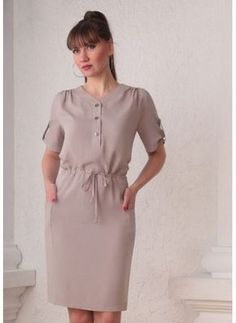 Бежевое платье, сафари Simple Dresses, Casual Dresses, Short Dresses, Girly Outfits, Dress Outfits, Hijab Fashion, Fashion Dresses, Casual Frocks, Look Street Style