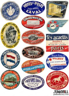 STEAMTRUNK III - Digital Printable Collage - Vintage Luggage Labels from Airlines, Railroads, Hotels, Foreign Travel, Instant Download