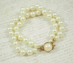 Vintage Pearl Bracelet...Faux White Pearls by IRENESVINTAGEBLING