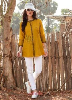 Buy tops online for girls in india. Wide range of trendy women tops and tunics at voonik with best prices . Shop like a stylist: buy tops online with ease. Latest Top Designs, Latest Tops, Womens Trendy Tops, Fancy Tops, Yellow Fabric, Western Wear, Daily Wear, White Jeans, Tunic Tops