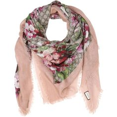 Gucci Women Blooms Print Gg Supreme Scarf ($365) ❤ liked on Polyvore featuring accessories, scarves, pink, gucci scarves, pink shawl, floral print scarves, gucci shawl and pink scarves