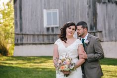 couple portraits bridal bouquet  at Hamilton station Virginia rustic farm wedding | Birds of a Feather Photography