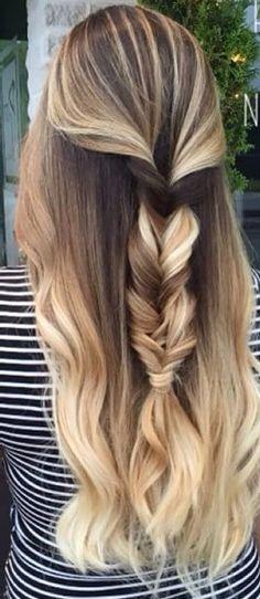 Balayage half up half down fishtail braid #gorgeoushair