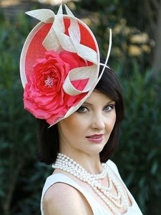 Kentucky Derby hat, Red couture fascinator, pink cocktail hat with rose, red…