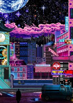 [OC] I know this is pixel art and a bit cyber punk, but Vaporwave is my first love, so I'm posting it here. Cyberpunk Aesthetic, Cyberpunk City, Neon Aesthetic, Japanese Aesthetic, Aesthetic Anime, Vaporwave Wallpaper, Aesthetic Iphone Wallpaper, Aesthetic Wallpapers, Cute Wallpapers