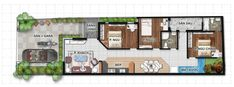 Thiết kế nhà cấp 4 đẹp 5x20 m My House Plans, Beautiful Space, Houzz, Plank, Floor Plans, Construction, Layout, House Design, How To Plan