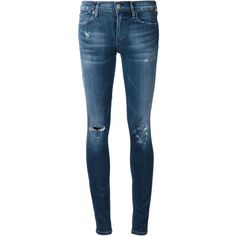 Citizens Of Humanity distressed skinny jeans ($110) ❤ liked on Polyvore featuring jeans, pants, bottoms, pantalones, blue, distressed jeans, denim skinny jeans, torn jeans, destroyed jeans and distressing jeans