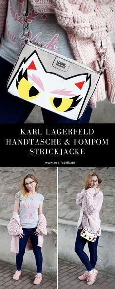 Karl Lagerfeld Handtasche und rosa Strickjacke mit Pompom Ärmeln / Outfit