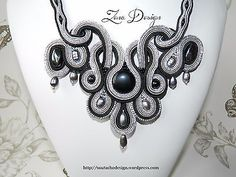 """Silvery Necklace and earrings """"Black and Grey"""", elegant, soutache, anniversary,"""