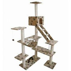 Cat Scratching Tower Playground Tree Ladder Activity Centre Climbing Paw Prints #CatScratchingTower