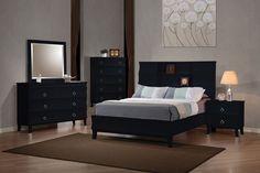 Coaster Holland Low Profile Bookcase Bedroom Set - Black