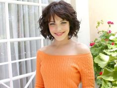 curly bob with bangs