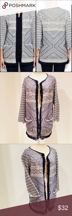 Lucky Brand Fringe Sweater Coat Fringe Sweater Coat — Brand: Lucky Brand — Size: Medium — Colors: Navy/Cream — Artisanal Stitched Pattern — Fringed Trim — 3/4 Sleeve  — EUC: Excellent Used Condition Lucky Brand Jackets & Coats