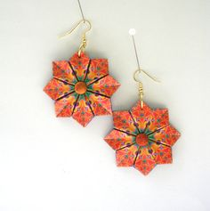 Origami Earrings  Orange and Purple Modular by PaperImaginations