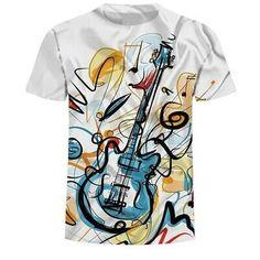 2018 Brand Casual Clothing painting T Shirt Men T-shirt Rock Guitar Print Summer Happy Hip Hop best T-shirt Tops Tee Size Fabric Paint Shirt, Paint Shirts, T Shirt Painting, 3d T Shirts, Branded T Shirts, Cool T Shirts, 3d Painting, Fabric Painting, T-shirt Rock