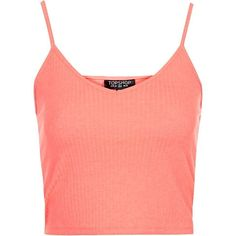 TOPSHOP PETITE Ribbed Cropped Cami ($10) ❤ liked on Polyvore featuring tops, shirts, crop top, topshop, fluro pink, petite, camisoles & tank tops, red tank top, red tank e red shirt