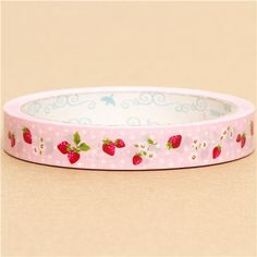 pink strawberry Sticky Deco Tape from Japan dots cute 1