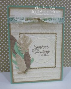 Tina has set our Just Add Ink challenge  this week:             Here's the colour combination I have used:           I have chosen to use l...