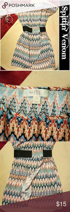Aztec Print Mini Dress Perfect for Summer! Love-Fire Aztec Print Mini Dress. Cap sleeves and waist cinching Black Elastic Belt. Love fire  Dresses Mini
