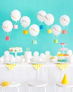 Birthday party themes, birthday balloons, baby birthday, first birthday par First Birthday Parties, Birthday Party Themes, First Birthdays, Diy Party Decorations, Birthday Decorations, Birthday Balloons, Balloon Party, Balloon Balloon, Party Planning