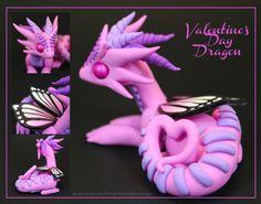 Polymer Clay Valentine Dragon Pink with Heart by ShaidySkyDesign on deviantART