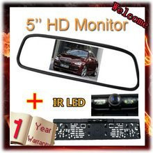 5 ιντσών LCD 800 * 480 Mirror Monitor για το αυτοκίνητο ΕΕ License κάμερα οπισθοπορείας Plate Frame όπισθεν προβολής κάμερας Night Vision Parking Sensor (Κίνα (ηπειρωτική χώρα))