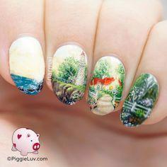 PiggieLuv: Freehand coast side landscape nail art