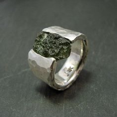 Sterling silver ring: Moldavite under Pressure wide by RRKK
