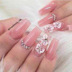 Baby Pink Nails Acrylic, Best Acrylic Nails, Summer Acrylic Nails, Baby Nails, Glam Nails, Bling Nails, 3d Nail Designs, Nails Design, 3d Flower Nails