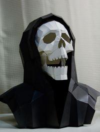 Halloween papercraft reaper skull art