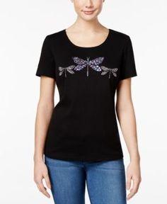 Karen Scott Petite Cotton Dragonfly Graphic T-Shirt, Only at Macy's - Black P/S
