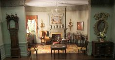 Temporary installation of the Marshall Field V Americana Room, on loan from Jamee and Marshall Field V,  a gift from Jamee to Marshall and was meant to document in miniature the decorative art they had collected and gifted to museums.     (from Sophia's website Small Talk)