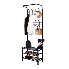 new hall tree hat coat rack stand bench shelf shoes entryway organizer metal us ebay