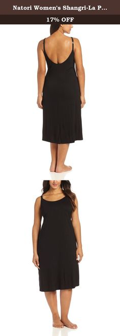 Natori Women's Shangri-La Plus Size Nightgown, Black, X-Large. Jersey knit gown.