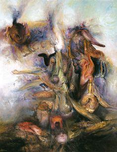 Visiting the Chimera, James Gleeson, 2004 Australian Painters, Australian Artists, Henry Thomas, Art Society, Chimera, Modern Artists, Japanese Prints, Fantastic Art, Archetypes
